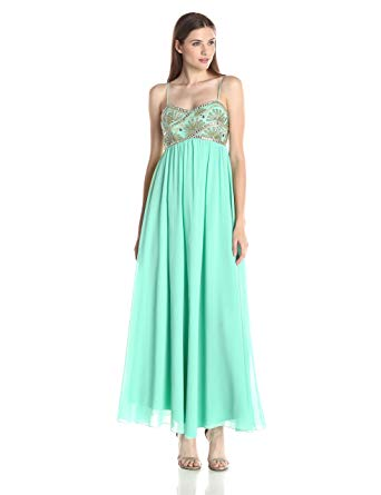 JS Collection - Beaded Gown - Aqua