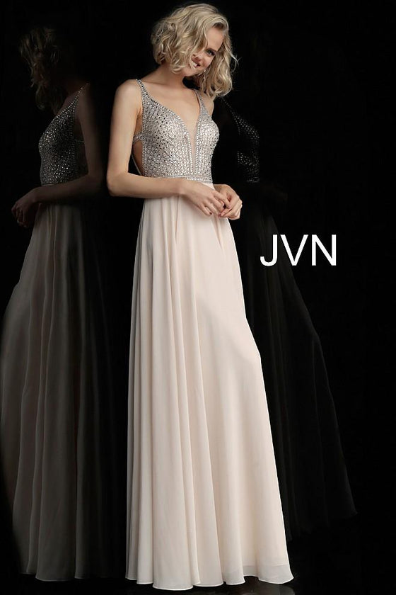 Jovani - V-Neck Embellished Gown - Nude