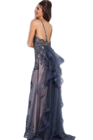 JVN - Ruffled and Beaded Gown - Black+Nude