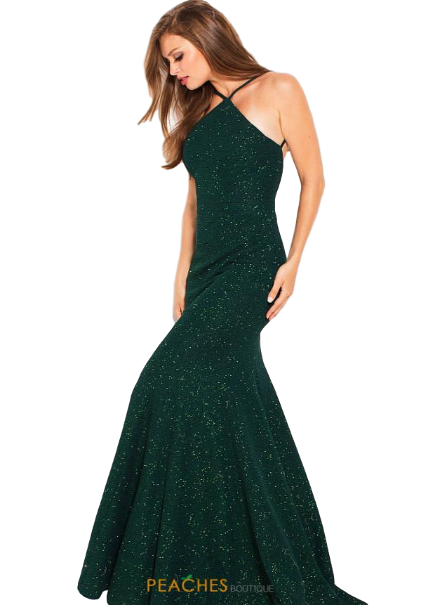 Jovani - Fitted Backless Halter - Emerald