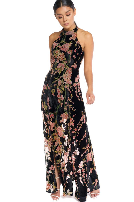 Luxxel - Empire Waist High Neck - Black/Floral