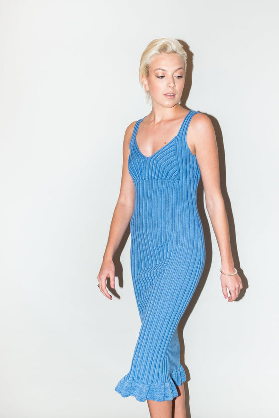 Front Image: blue, midi length, stretchy material, fitted dress.
