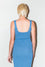 Back Image: blue fitted, stretch dress, thick straps, low neckline.