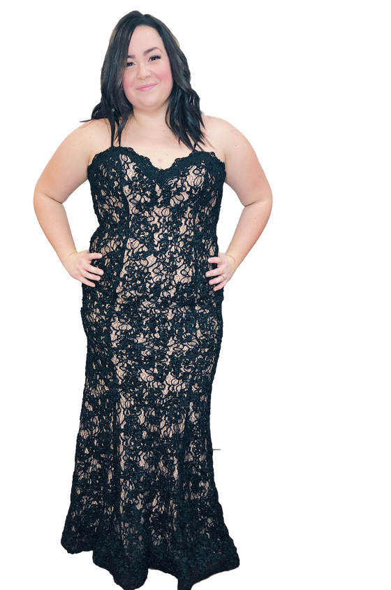 Jovani - Strapless Sweetheart Lace Illusion - Black+Nude