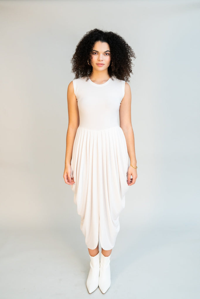 Norma Kamali - Sleeveless Waterfall Dress - White