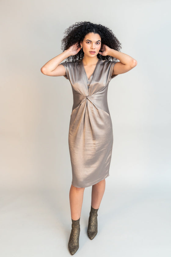 Front Image: Silver, knee length, t-shirt dress, with wrapped mid section and v neckline. Brand Obakki.