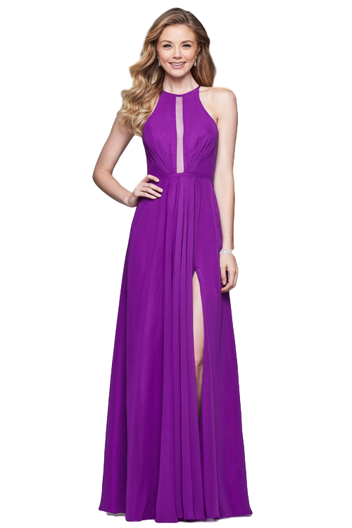 Faviana - Strappy Back Halter Dress - Violet