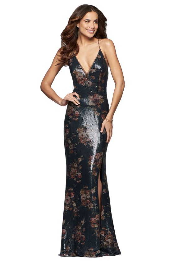 Faviana - Sequin Evening Gown - Navy+Floral