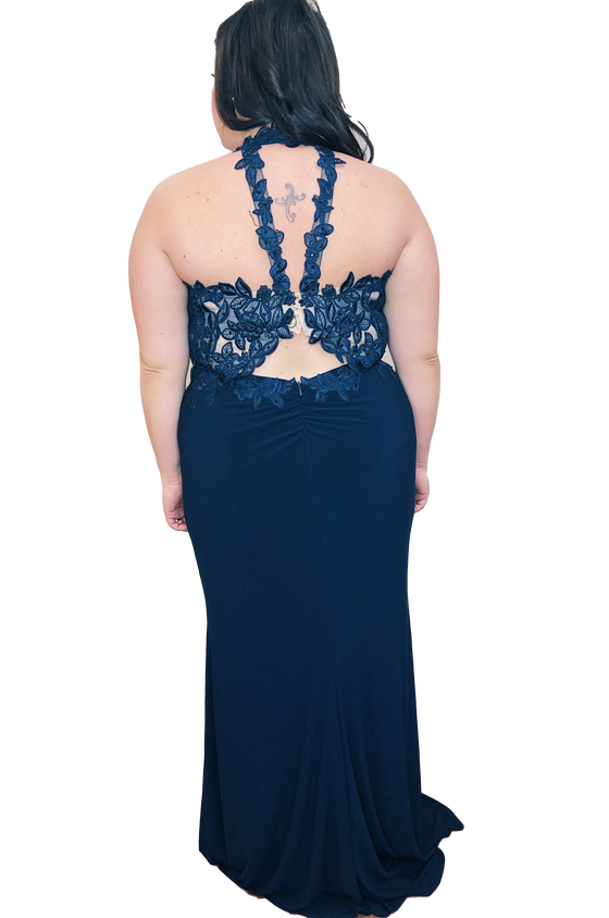 Faviana -  Fitted Lace Halter - Navy Blue