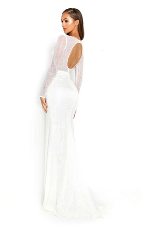 Portia & Scarlet - Deep V Long Sleeve Gown - White