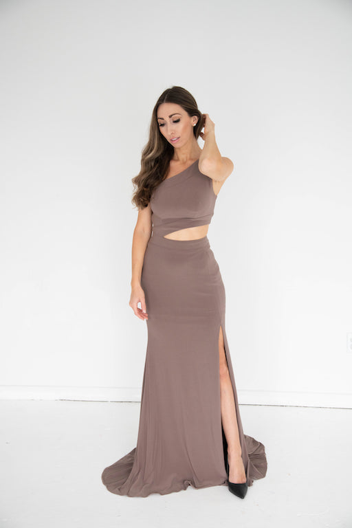 Jovani - Asymmetric Gown - Taupe