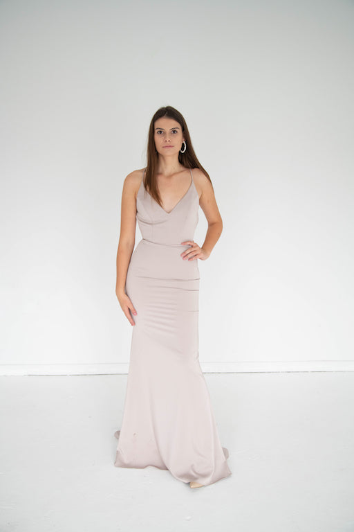 Jovani - Fitted Satin Gown - Taupe