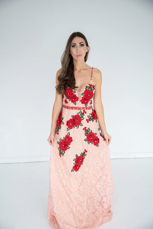 Jovani - Embroidered Floral Gown - Blush & Red