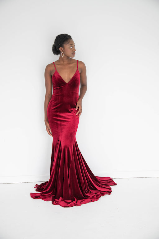 Jovani - Velvet V Neck - Ruby