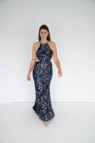 Faviana - High Neck Beaded Gown - Navy & Gold