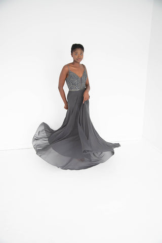 Jovani - Beaded A Line - Gunmetal