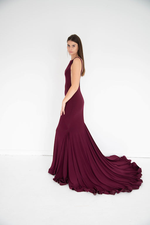 Jovani - Sleeveless High Neck - Burgundy