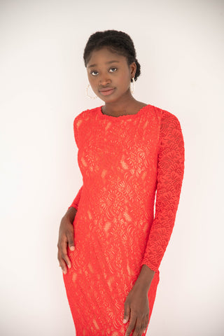 Jovani - Lace Long Sleeve - Red