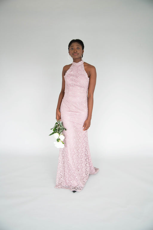 Alyce - Collared Lace Gown - Lavender
