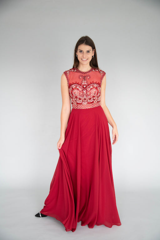 Jovani - Beaded Empire Gown - Red