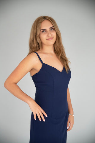 Alyce - Fitted Slip Dress - Navy