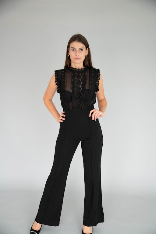 Luxxel - Lace & Illusion Jumpsuit - Black