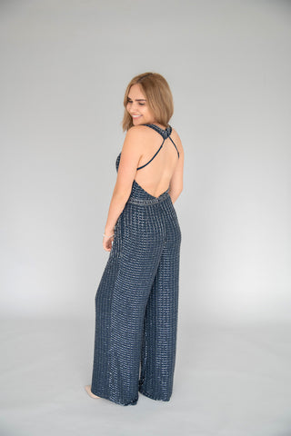 Scala - Beaded Jumpsuit - Midnight Blue