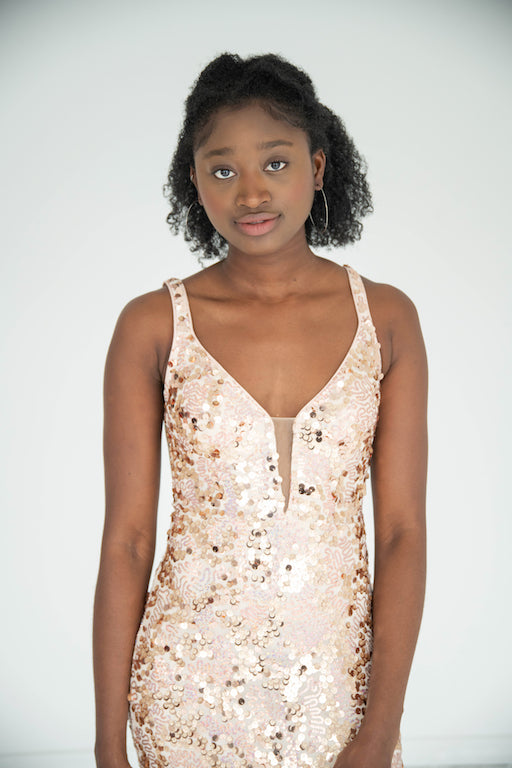 Jovani - V Neck Sequin Gown - Nude & Gold