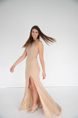 La Femme - Studded Backless Gown - Nude