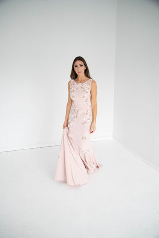 Jovani - Beaded Floral Gown - Blush