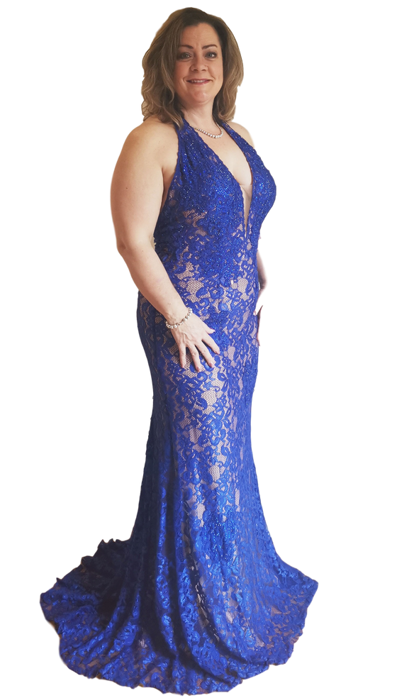 Jovani - Lace Fitted Halter - Royal Blue
