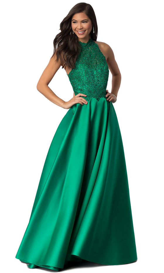 Alyce - Lace Halter Gown - Emerald Green