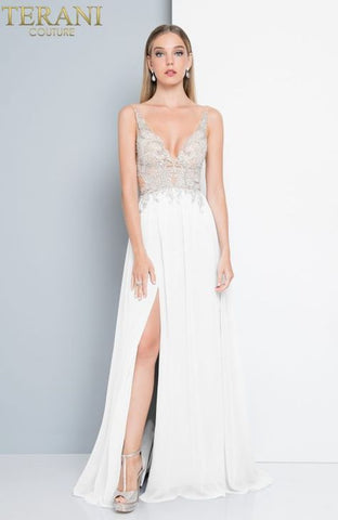 Terani Couture - Sheer Beaded Gown - White