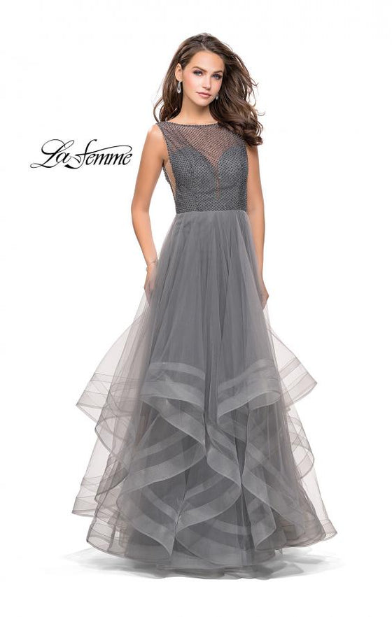 La Femme - Beaded Round Neck Tulle - Grey