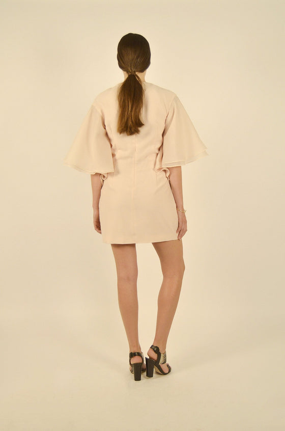 Back Image: Mini length, soft pink dress, with large sleeves, and high back.  Brand Keepsake.