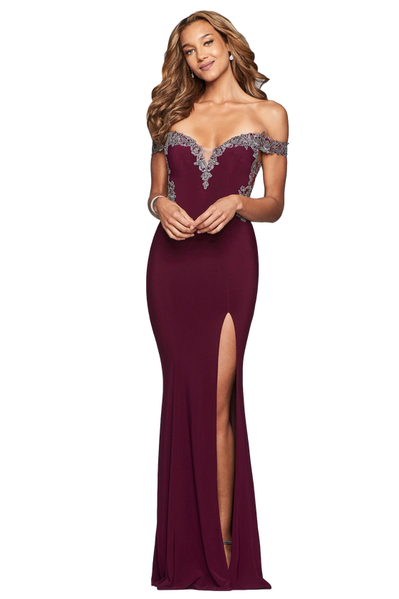 Faviana - Off the Shoulder High Slit Dress - Merlot