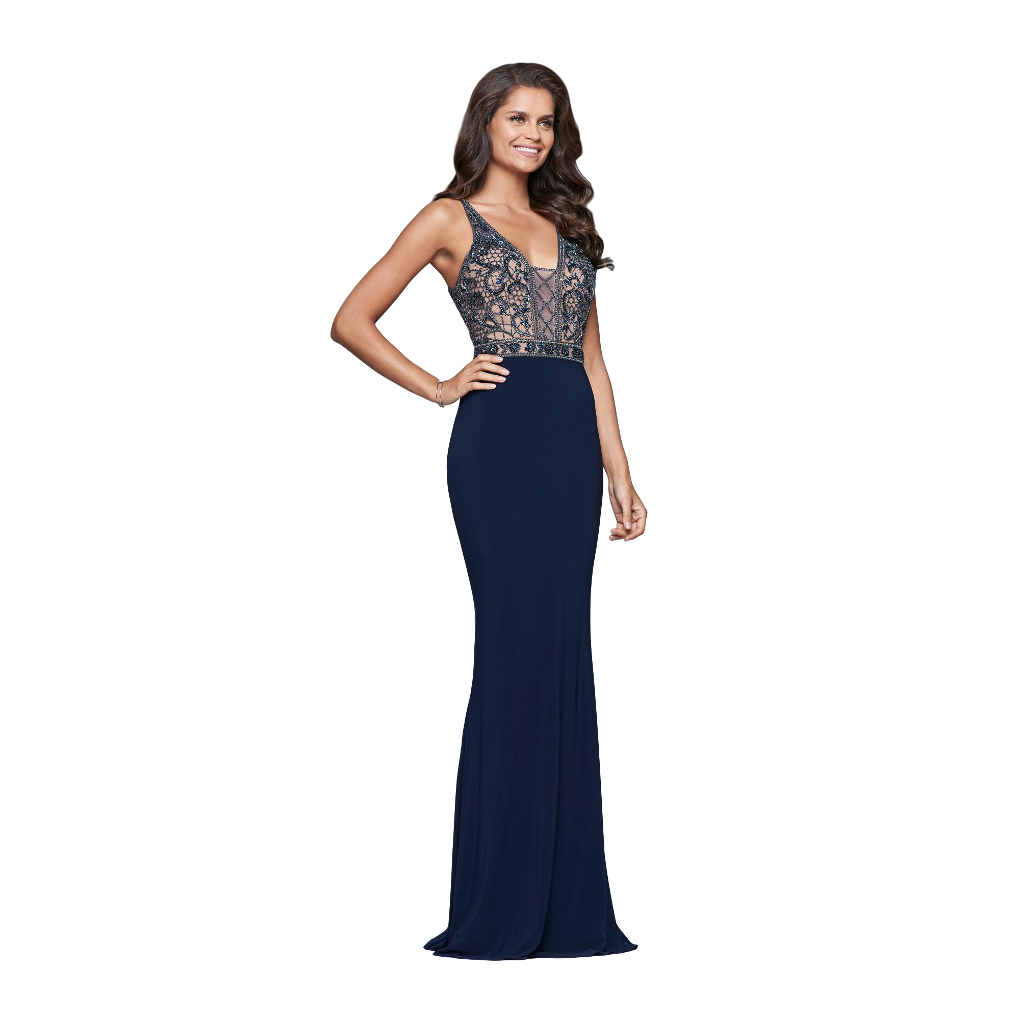 Faviana - Embellished Gown - Navy