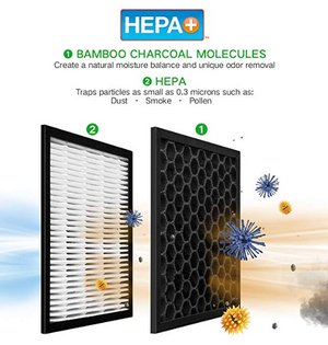 Hunter HEPA+ Air Purifier with Viro-Silver Technology for Large Rooms HT1701 (titanium/black)