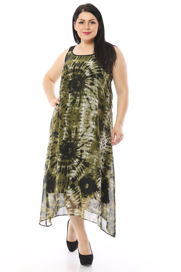Tie-Dye Detailed Chiffon Lined Dress
