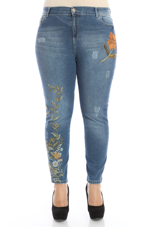 Embroidered Detailed Active Jeans