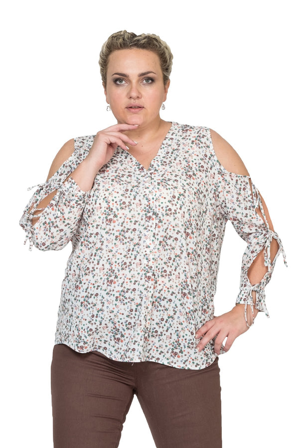Decollette Shoulder and Sleeve Shirt
