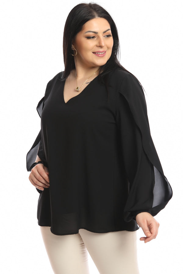 Curve V Neck Sleeve Top Detailed Blouse