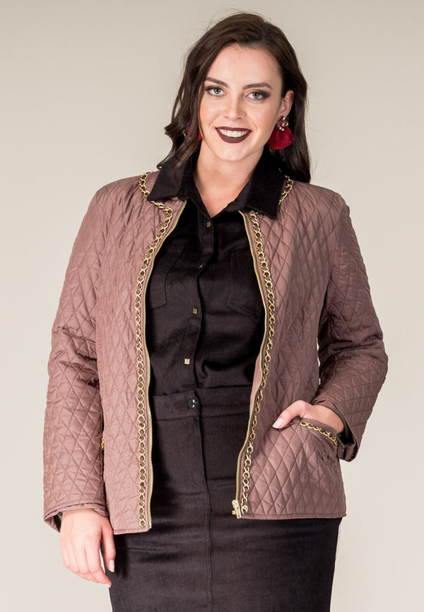 Chain Detaile Quilted Coat