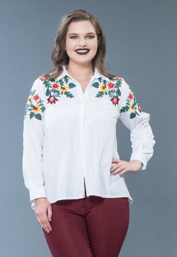 Embroidered Shoulder Detailed Cotton Shirt