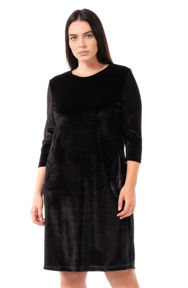 Plus Size Dress Models - Pocked Detailed Velvet Dress