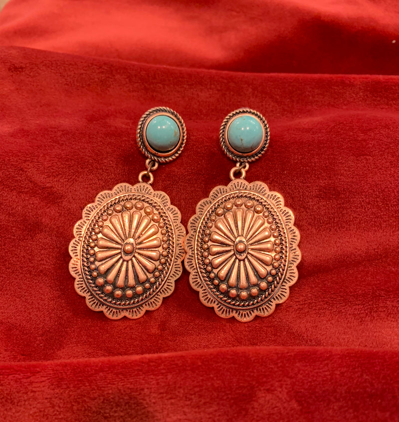 Bronze Turquoise Studded Earrings