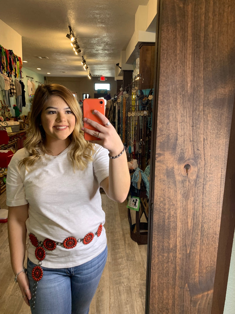 Red Blossom Concho Belt