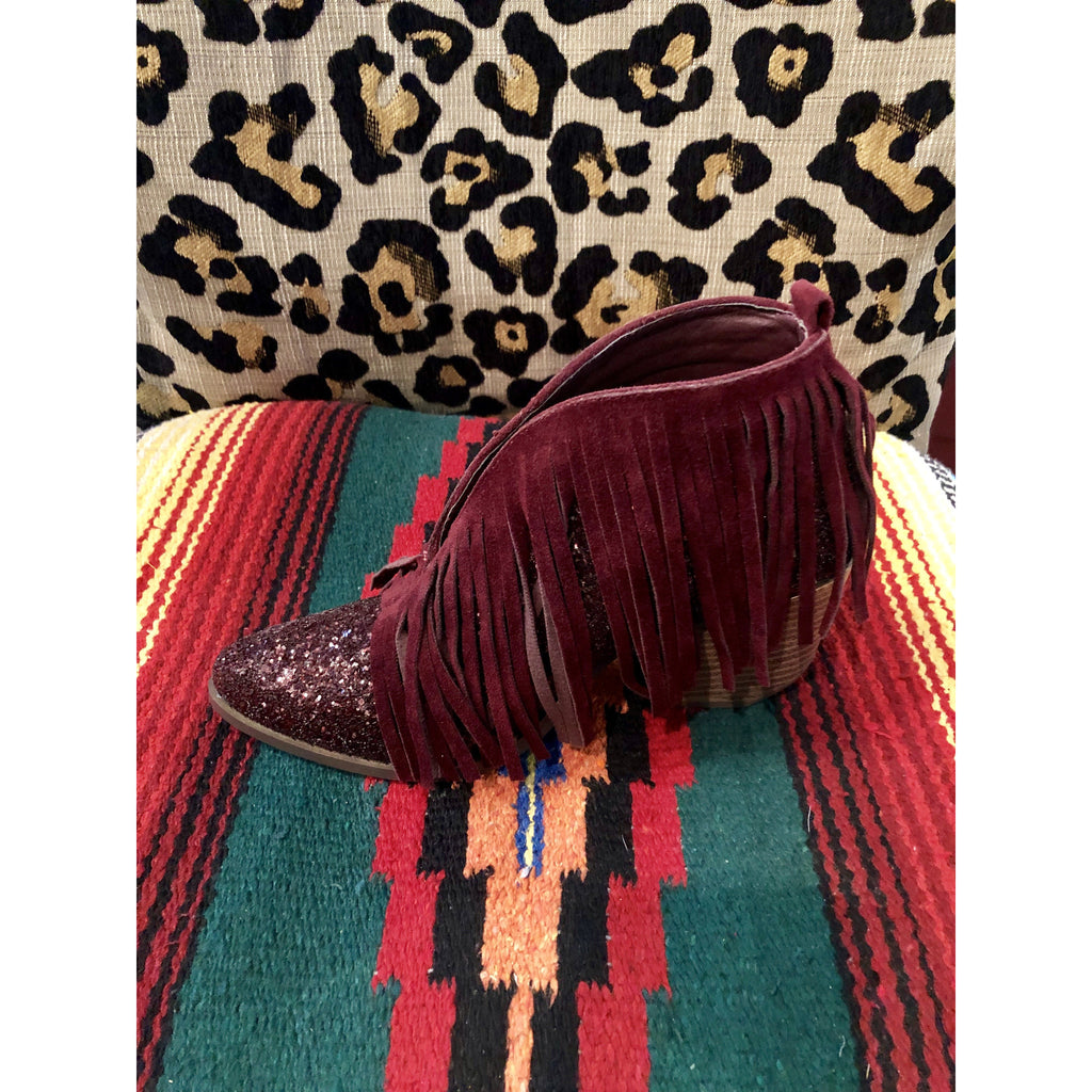Wine Fringe Booties