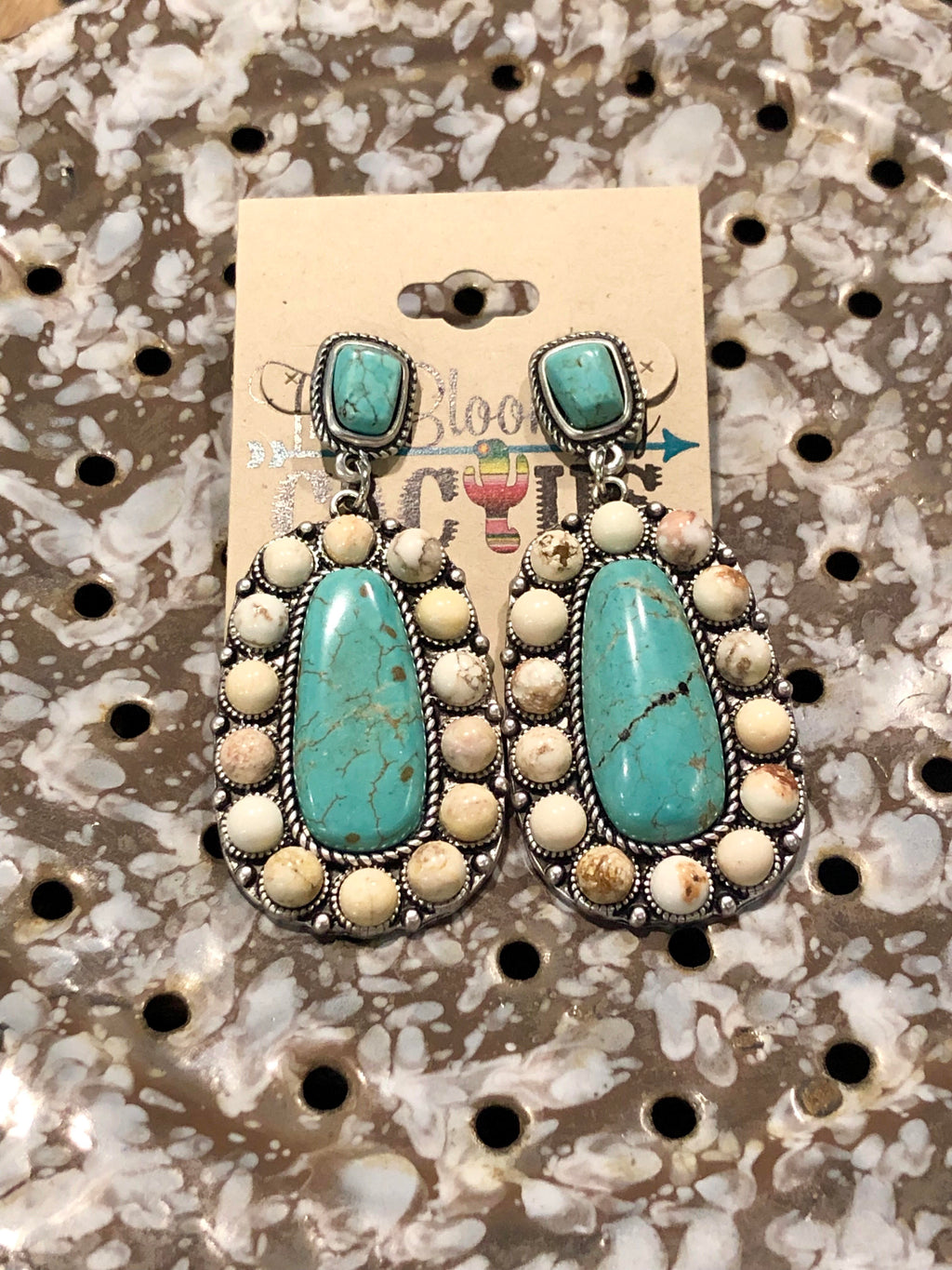 Turq with Ivory Beaded Earrings