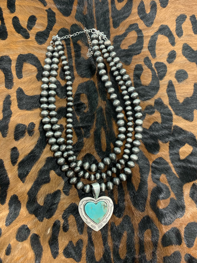 Turq. Heart Necklace
